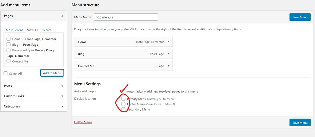 confuguring menu settings in wordpress