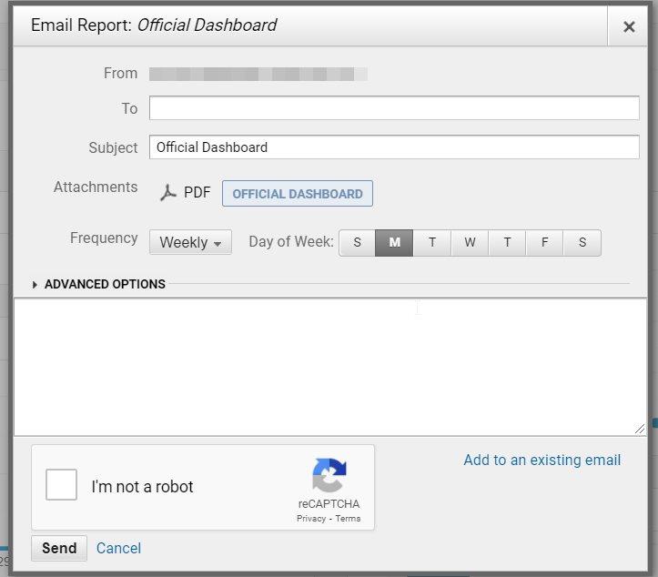 dashboard email set up google analytics