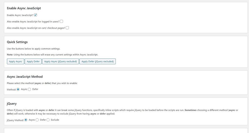 async javascript settings
