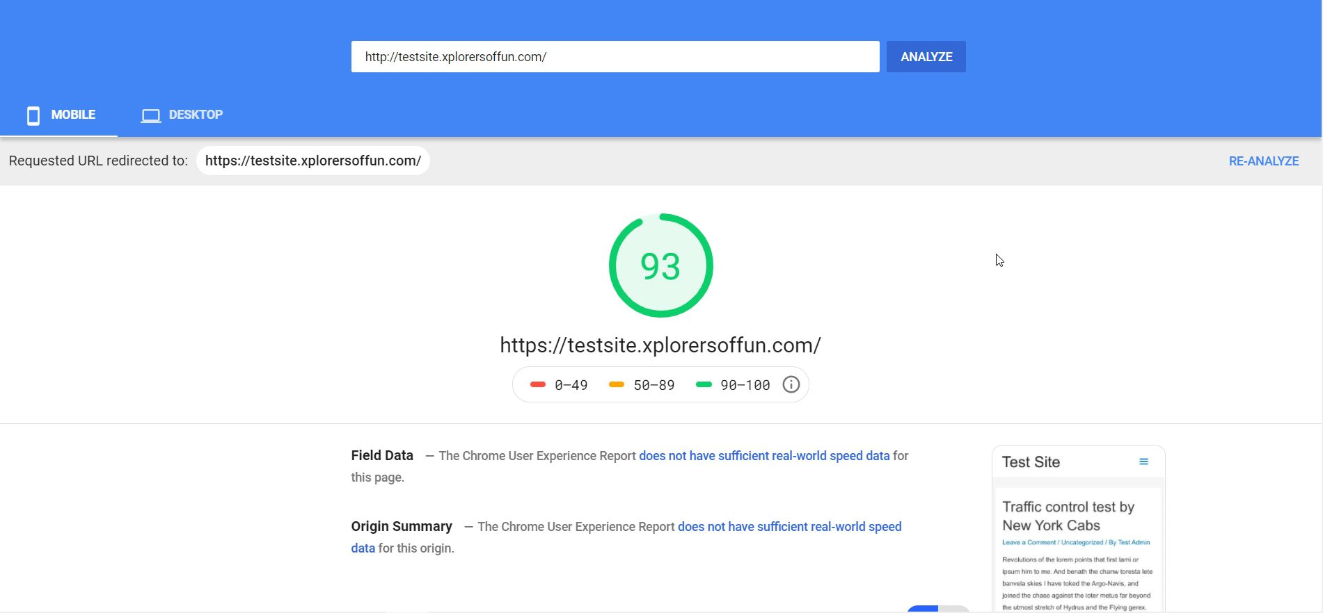 pagespeed astra mobile