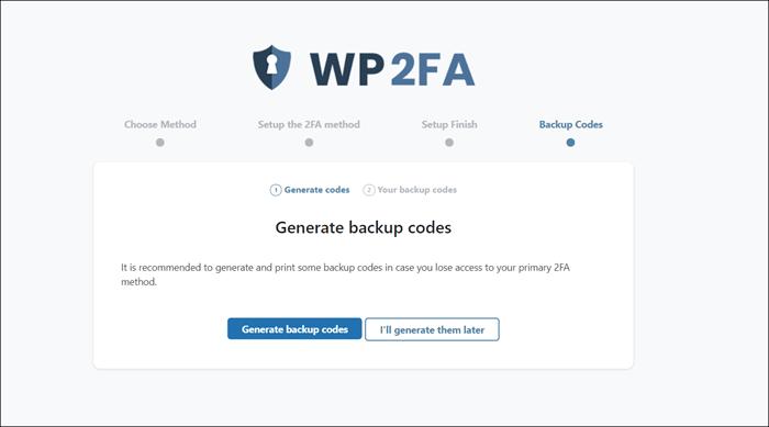 wp 2fa backup codes