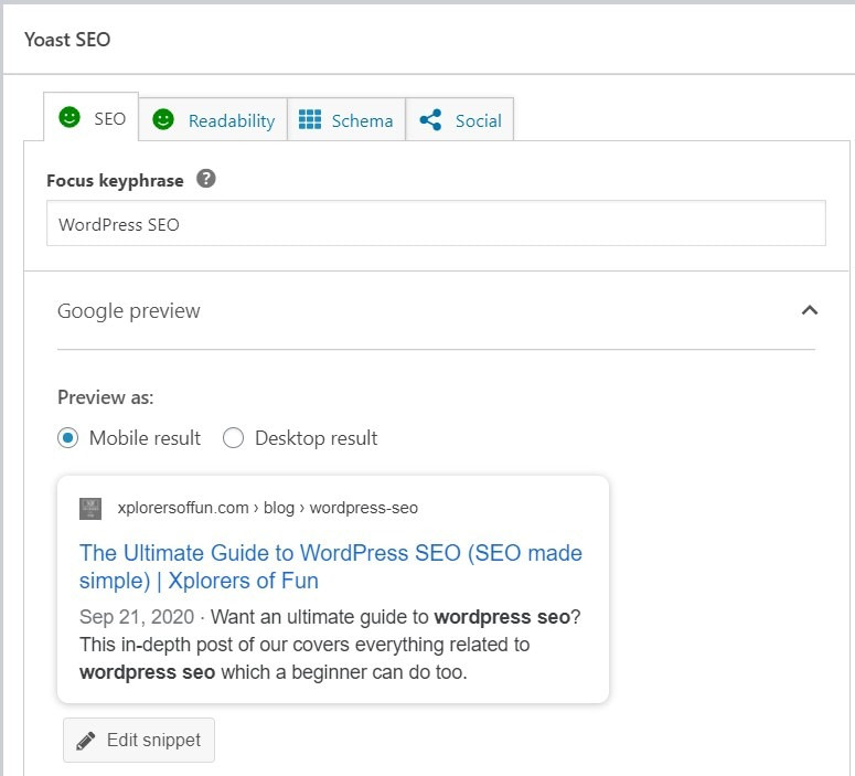 Yoast SEO box in WordPress SEO