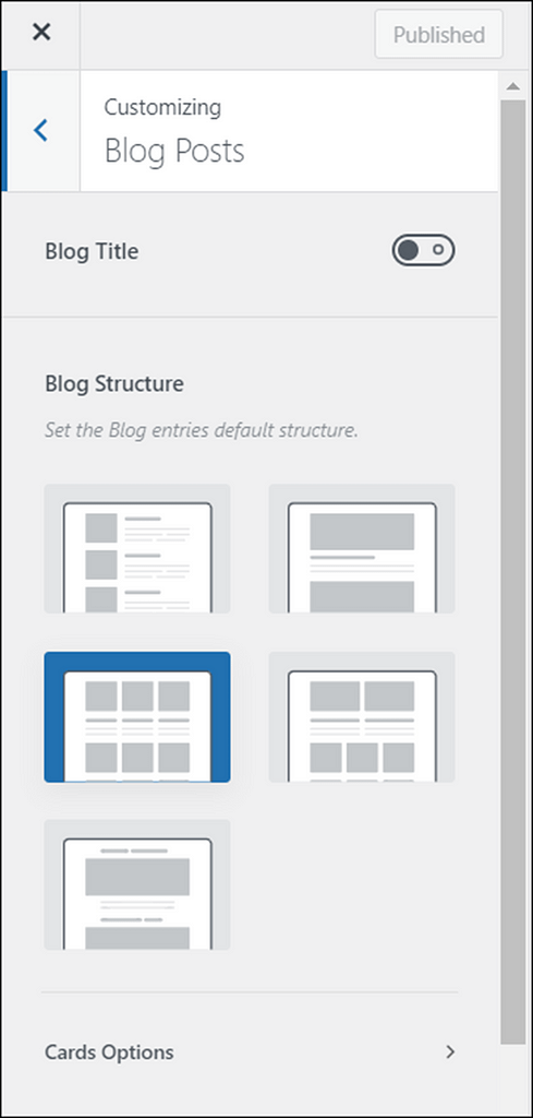 blocksy blog options