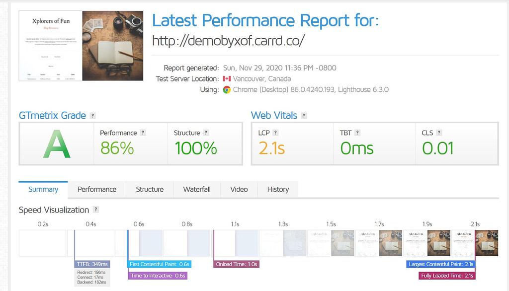 carrd website speed