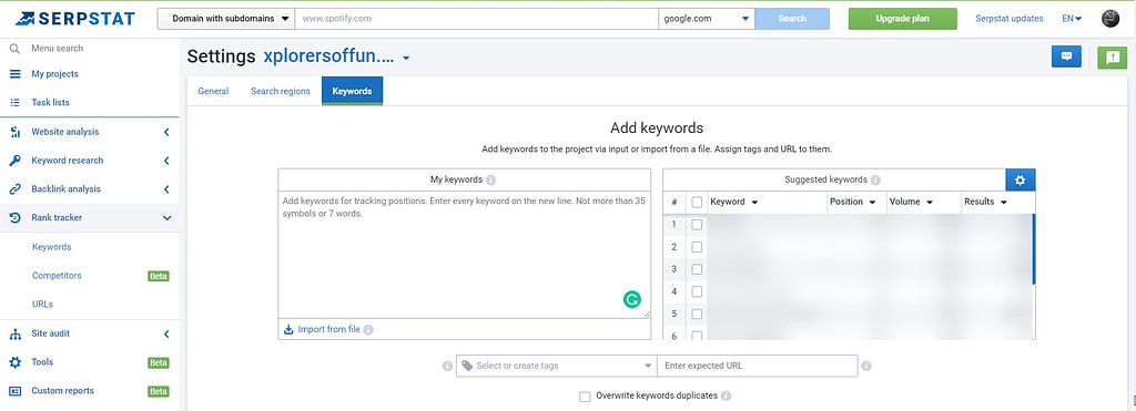 serpstat add keywords
