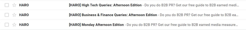 emails sent by haro