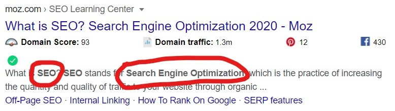 highlighted words in meta description