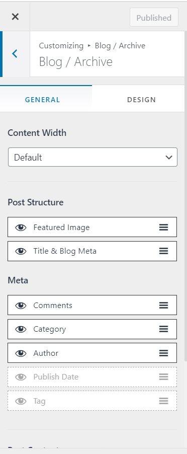 astra blog customization
