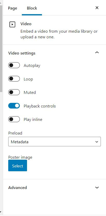 video settings wordpress